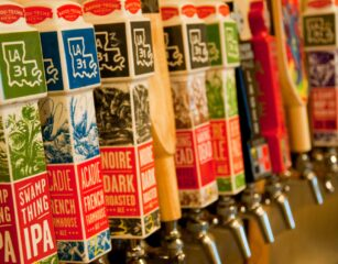 Beer dispensers at Bayou Tech Brewing